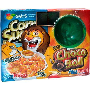 Kit Cereal Matinal Corn Sugar Alca Foods 300g + Choco Boll 200g