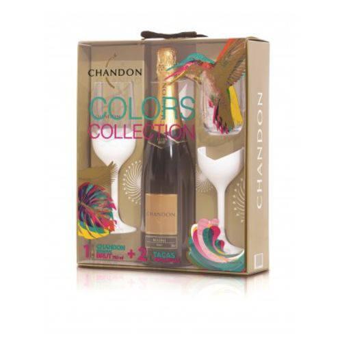 Kit Chandon Reserve Brut 750 Ml com 2 Taças Brancas Exclusivas Colors Collection