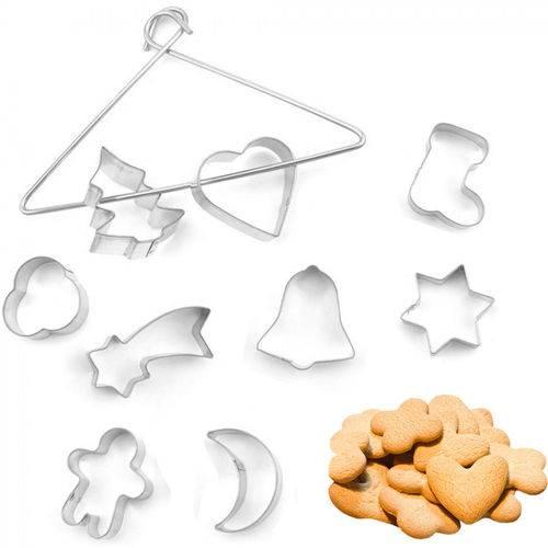 Kit com 9 Cortadores de Biscoitos Variados Coracao, Lua, Estrela