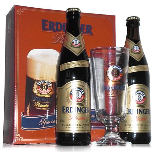 Kit de Cerveja Alemã Erdinger Pikantus 2 Garrafas ( 500 Ml Cada) + 1 Copo