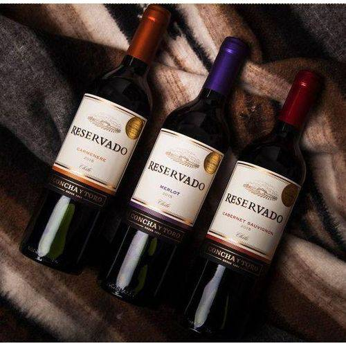 Kit de Vinhos Tintos Chilenos Concha Y Toro - Cabernet Sauvignon - Carmenere - Merlot 750 Ml