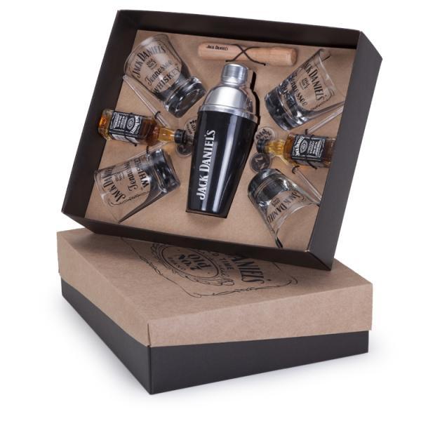 Kit Jack Daniels 50ml Whisky + Coqueteleira + 4 Copos + 4 Mexedores e 1 Socador - Shop Quality