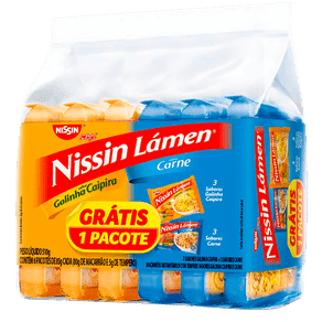 Kit Macarrão Instantâneo Nissin Lámen C/ 6 - Grátis 1 Pacote