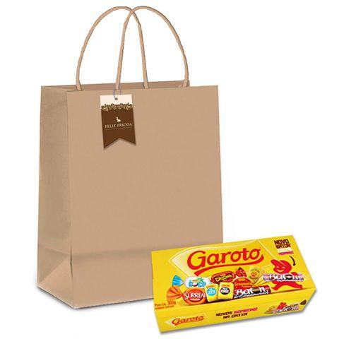 Kit Páscoa Presente - Bombom Garoto+Sacola Kraft+Tag
