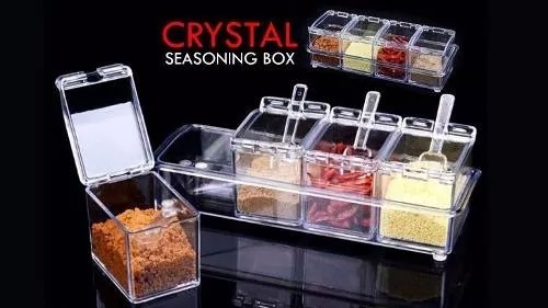 Kit Porta Condimentos Temperos Acrílico Crystal SeasoningKit