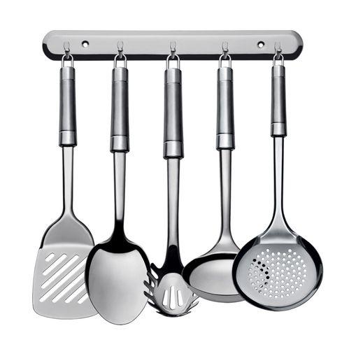 Kit Utensílios de Cozinha Donnat Inox com Suporte 6 Peças Euro IN9444