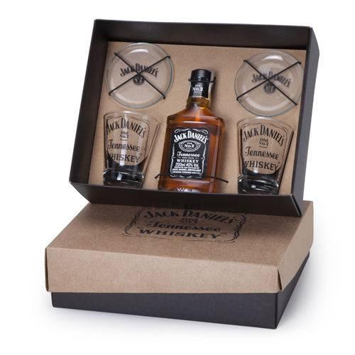 Kit Whisky Jack Daniel's + 2 Copos Personalizados + 2 Porta Copos (SQ16912)