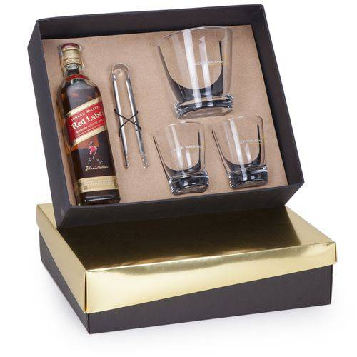 Kit Whisky Johnnie Walker Red Label 500ml + Balde + Pinça e 2 Copos
