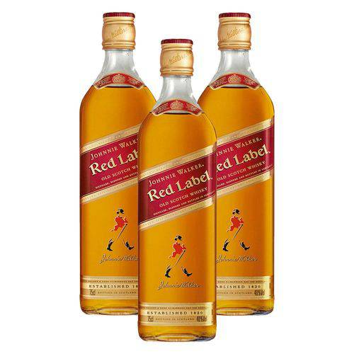 Kit: 3 Whiskys Importado Johnnie Walker Red Label 1l 8 Anos