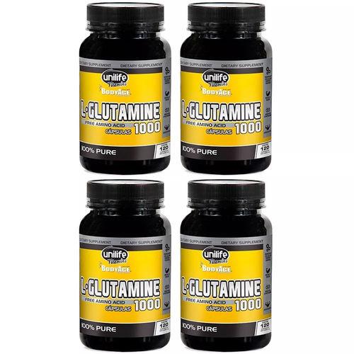 L-Glutamine 1000mg - 4x 120 Cápsulas - Unilife