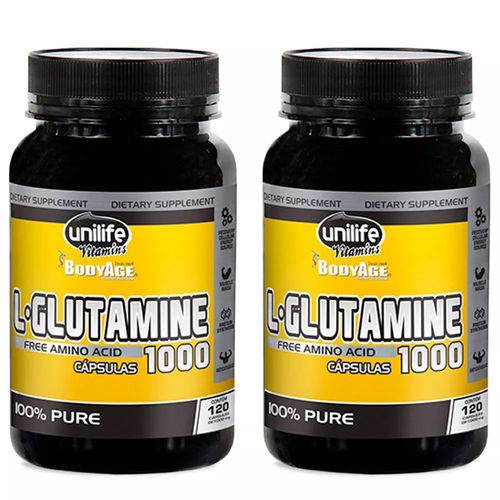 L-Glutamine 1000mg - 2x 120 Cápsulas - Unilife
