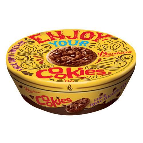 Lata Natalina Cookies Triplo Chocolate 132g - Bauducco
