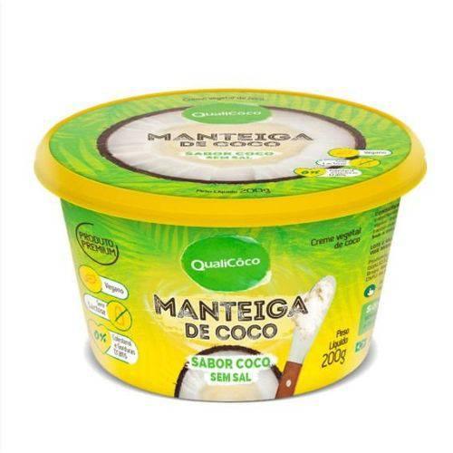 Manteiga de Coco - Sabor Coco Sem Sal - Qualicôco - Pote com 200g