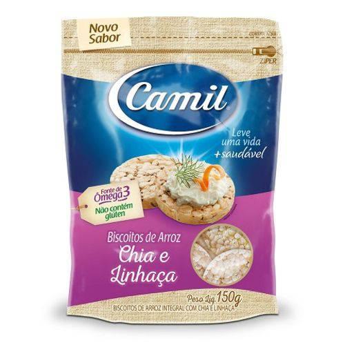 Mini Biscoitos de Arroz Integral com Chia e Linhaça Camil 150g