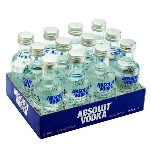 Mini Vodka Absolut 50ml Natural Miniatura Mini Garrafa Kit 12 Unidades