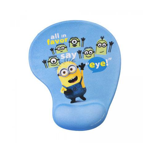 Mouse Pad Azul com Apoio de Gel Minions