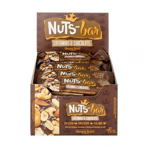 Nuts Bar Castanhas e Chocolate 25g X 20 - Banana Brasil