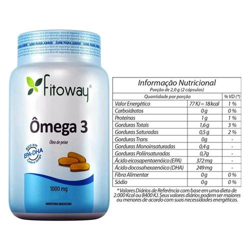 Omega 3 Óleo de Peixe 1000mg - Fitoway - 60 Caps