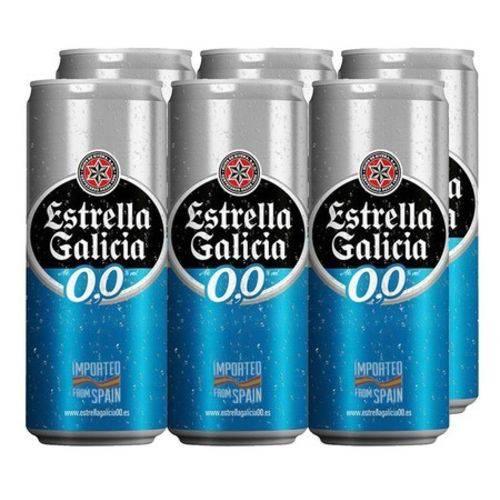 Pack Cerveja Espanhola Lata Estrella Galicia Zero 0,0 (6x330ml)