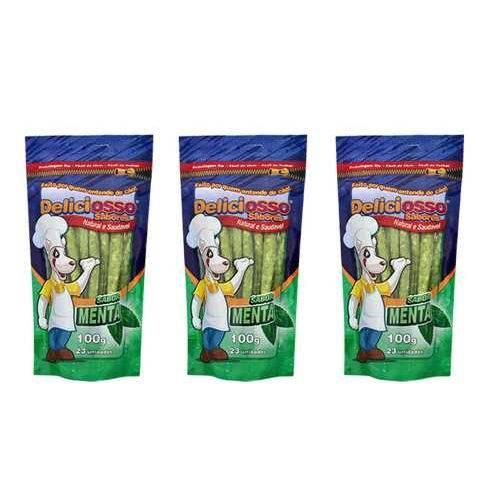 3 Pacotes Ossinho para Cães Deliciosso Osso Palito Fino Menta 100g