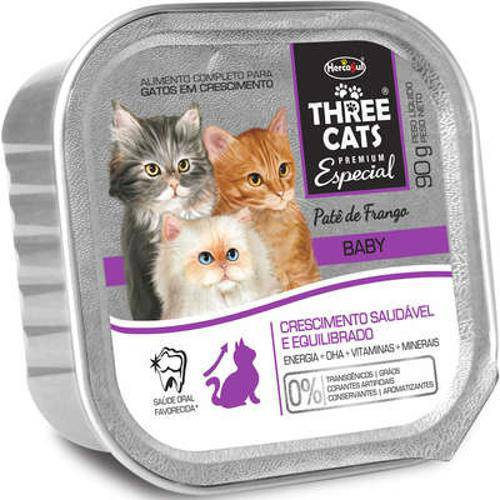 Patê Hercosul Three Cats Baby Frango para Gatos Filhotes - 90 G