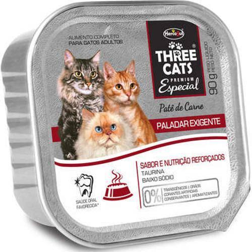 Patê Hercosul Three Cats Paladar Exigente Carne para Gatos Adultos - 90 G