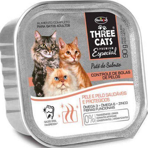 Patê Three Cats Gatos Adultos Bolas de Pelo 90g