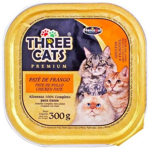 Patê Three Cats Premium para Gatos Frango Adultos e Filhotes Hercosul 300 G