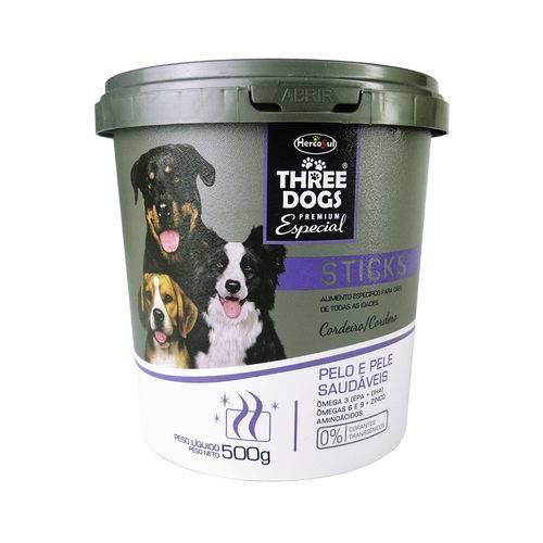 Petisco Hercosul Three Dogs Sticks Pelo e Pele Saudáveis Cordeiro para Cães - 500 G