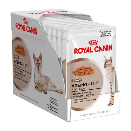 Ração Royal Canin Sachê Feline Ageing 12+ - 85g - Caixa 12 Unidades