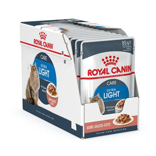 Ração Royal Canin Sachê Ultra Light para Gatos - Caixa com 12 Unidades