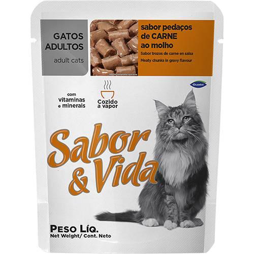 Ração Sabor & Vida para Gatos Adultos Carne Sachê 85g