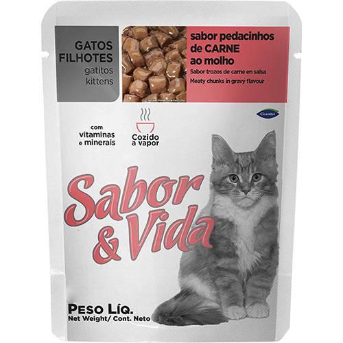 Ração Sabor & Vida para Gatos Filhotes Carne Sachê 85g
