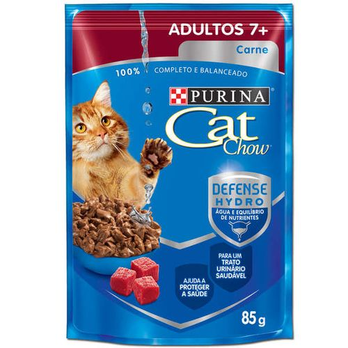 Ração Úmida Cat Chow 7+ Sabor Carne ao Molho para Gatos Adultos 85g