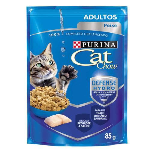 Ração Úmida Nestlé Purina Cat Chow Adultos Sachê Sabor Peixe ao Molho Caixa com 15 Unidades 85g