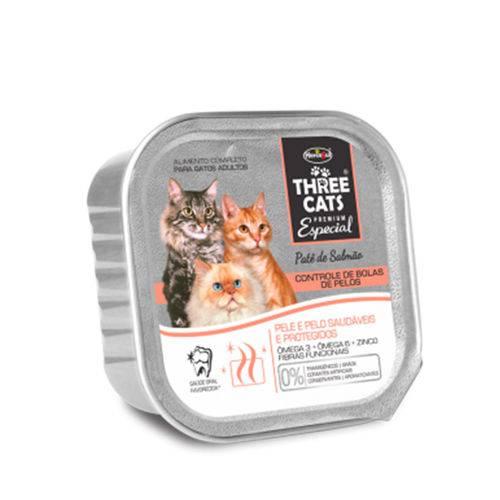 Ração Úmida Patê Three Cats Premium Especial Gatos Bola de Pelo 90g