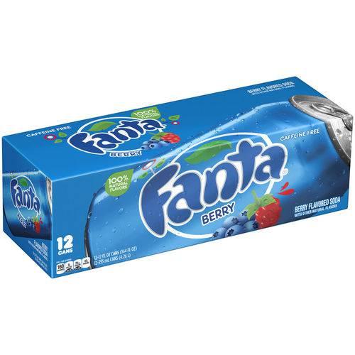 Refrigerante Fanta Berry - Sabor Mirtilo - Caixa 12 Unidades (355ml)