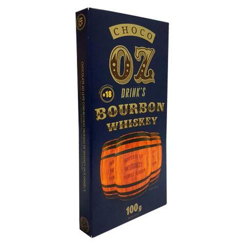 Tablete de Chocolate ao Leite Recheio Bourbon Whiskey 100g - Choco Oz
