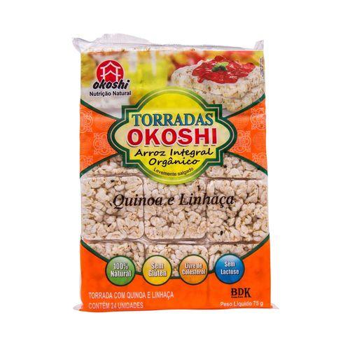 Torradas Okoshi Arroz Integral Orgânico Quinoa e Linhaça 75g