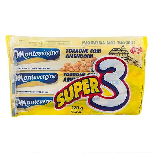 Torrone com Amendoim Montevérgine com 3 Unidades de 90g Cada