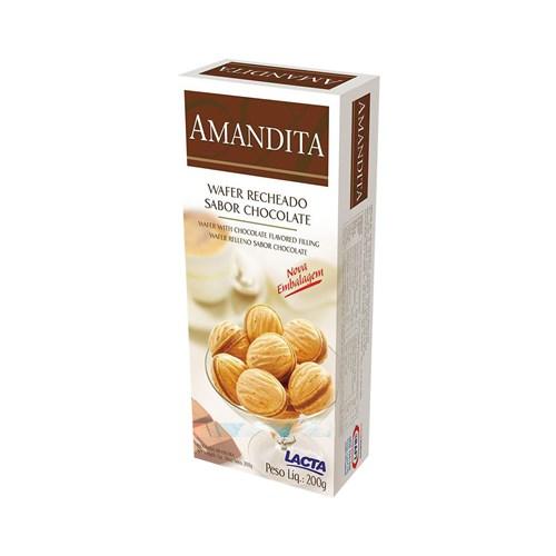 Wafer Recheado de Chocolate Lacta Amandita 200G