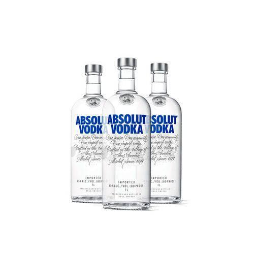 3x Vodka Absolut Original 1l