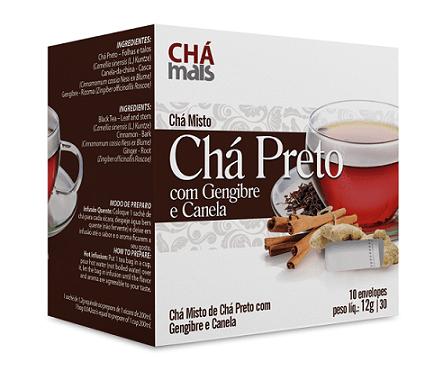 Ficha técnica e caractérísticas do produto Chá Preto com Gengibre e Canela - Chá Mais - 10 Sachês - 12g